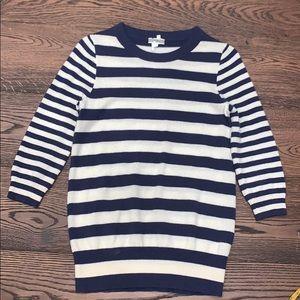 J Crew | Cashmere purple & cream Striped Sweater